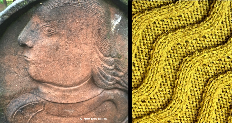 Carved of brownstone portrait knit into cabled color.